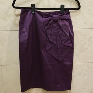 H&M Purple Sheen Front Bow Pencil Skirt
